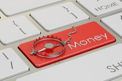 Money trap concept, button on keyboard. 3D rendering. Money trap concept, button on keyboard. 3D Royalty Free Stock Photography
