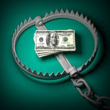 Money trap. 3d old bear trap and money Stock Photo