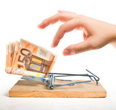 Money trap - euro bait Royalty Free Stock Image