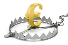 Money trap with euro sign, 3D rendering. Isolated on white background Royalty Free Stock Image