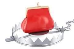 Money trap with red purse, 3D rendering. Isolated on white background Stock Image