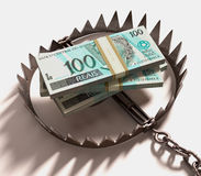 Money Trap. Stack of Real (Brazilian money) into a trap. Clipping path included Royalty Free Stock Image