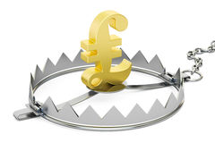 Money trap with symbol of pound sterling, 3D rendering Stock Image