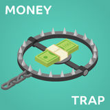 Money trap. Vector flat illustration. Flat 3d isometric style money finance banking credit loan trap concept web infographics vector illustration Stock Image