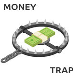 Money trap. Vector flat illustration. Flat 3d isometric style money finance banking credit loan trap concept web infographics vector illustration Royalty Free Stock Photography