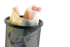 Money in a Trash Bin Stock Image