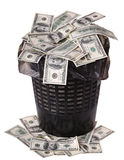 A money is in a trash bucket. Stock Photography