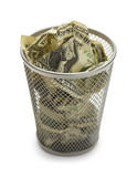 Money Trash Can Royalty Free Stock Photo