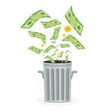 Money in trash Royalty Free Stock Photos