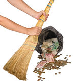 Money in the trash, the collapse of the financial market crisis Stock Image