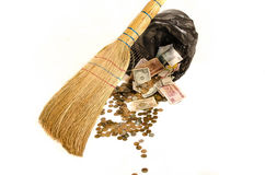 Money in the trash, the collapse of the financial market crisis. F Collapse of the currency market, the investment risks Royalty Free Stock Image