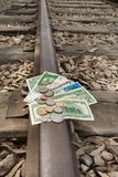 Money travel, transfer, public transport investment. Expenses and budget royalty free stock photography
