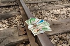 Money travel, transfer, public transport investment. Budgets and expenses royalty free stock image