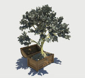 Money tree. Grew up in a chest with gold coins stock illustration