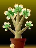 Money Tree. Vector illustration of money tree with coin leaves of different currency Stock Image