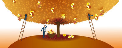 Money Tree. Business People Collecting Dollar Signs From Money Tree Royalty Free Stock Images