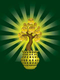 Money Tree. Shining money tree with golden coins in flowerpot stock illustration