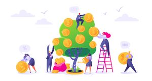 Makin money business investment with flat people characters. vector illustration