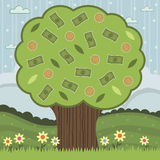 Money tree. Landscape background with money tree of notes and coins Royalty Free Stock Photo