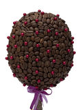 'The money tree'. Handmade composition 'The money tree' made of coffee beans and beads. Isolation, shallow DOF stock photo