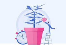 Financial success concept. Concept company is engaged in the cultivation of money cash profits for presentation, social media, doc. Business grow money-plant stock illustration