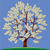 Money tree. Dollar banknotes instead of leaves, riches, business,  image Stock Photo