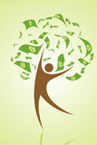 Money tree. Illustration of money tree with human as stem Royalty Free Stock Photo