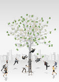 Money tree. With business people trying to collect bills Royalty Free Stock Image