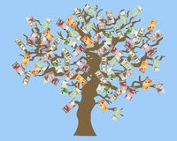 Money tree. USD, Euro and GB Pounds currencies Stock Photo
