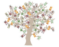 Money tree. USD, Euro and GB Pounds currencies Stock Images