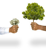 Money for tree. A business man's arm with long sleeve white shirt hands a man's bare arm, money for the tree he is holding. Concept for solving global warming royalty free stock image