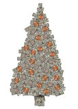 Money Tree. Christmas tree made out of US Currency. Leaves are dollars twenties and hundreds. Ornaments are made of pennies and quarters Stock Photography