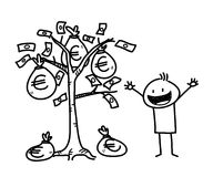 Money Tree Business Stick Figure (Euro). A hand drawn vector illustration of a businessman and a money tree Stock Image