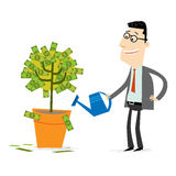 Money Tree. Businessman watering a moneytree Royalty Free Stock Photography