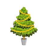 Money Tree. Christmas tree from dollar. Leaves from currency  Royalty Free Stock Photo