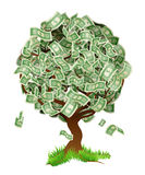 Money Tree. A conceptual illustration of a tree growing money in the form of dollar notes. Concept for profit or economic growth, earning interest or similar Stock Image