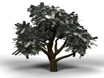 Money tree dollar. 3D illustration of a money tree with 1 dollar bills as leafs Stock Photography