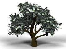 Money tree euro. 3D cartoon illustrating a money tree with 100 euro bills as leafs Royalty Free Stock Photos