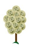 Money tree - Euros. One Euro coins growing on a tree - maybe Royalty Free Stock Photos