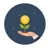 Money Tree, Financial Growth Flat Concept Vector Illustration. EPS10 Stock Photos