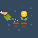 Money Tree, Financial Growth Flat Concept Vector Illustration Royalty Free Stock Images