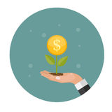 Money Tree, Financial Growth Flat Concept Vector Illustration. EPS10 Royalty Free Stock Photos