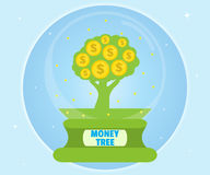 Money tree in a glass bowl. Wealth concept. Cartoon, flat style, vector Stock Images