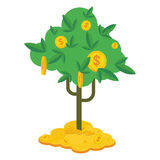 Money tree on money. Money tree with gold coins and paper dollars. Symbol of success, wealth and power. Finance and banks, savings and investments. Flat vector Stock Image