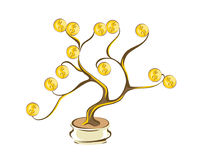 Money tree with golden coins. Gold dollars on wood branches. Cartoon style, isolated on white  illustration Stock Image