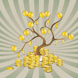 Money tree with golden coins. Gold dollars on wood branches and stacks around. Vintage rays background. Cartoon style, vector illu. Stration Stock Images