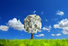 Money tree on green landscape. Conceptual image of money tree on green landscape royalty free stock photography
