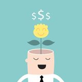 Money tree growing from businessman head Profit. Business success concept Vector illustration Royalty Free Stock Image
