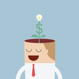 Money tree growing from businessman head Stock Photos