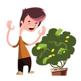 Money tree growing green  illustration cartoon character. Enjoy Royalty Free Stock Images